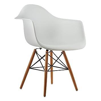 KunstDesign Sillones estilo Eames Set de 4, diseño ergonómico, patas bajas de madera de haya natural, looks modernos de mediados de siglo, perfecto ...