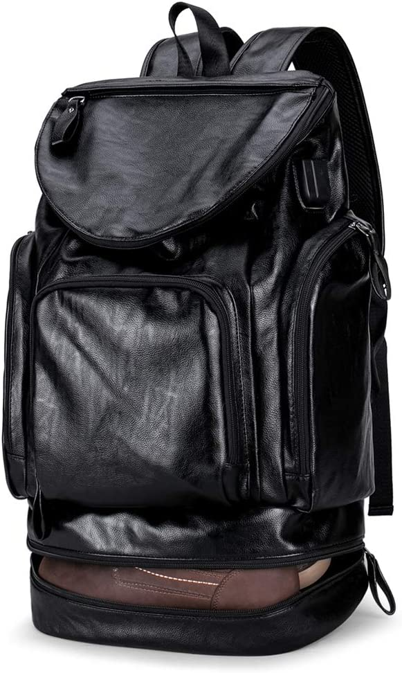 Anti Theft Men Backpack with USB with Shoe Leather Laptop Travel Backpack black