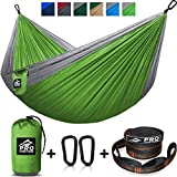 Double Camping Hammock – XL Hammocks, FREE Premium Straps & Carabiners – Lightweight + Compact Parachute Nylon – Backpacker Approved and Ready for Adventure! 10.5 x 6.5 FT