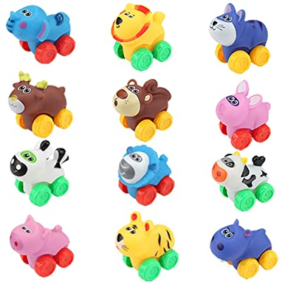 Liberty Imports 12 Pack Soft Rubber Baby Toy Cars in Bucket - Cartoon Animal Vehicles Push and Go with Wheels for Babies, Toddlers and Kids (1 Dozen): Toys & Games