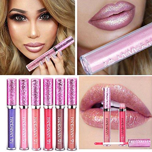 HANDAIYAN Liquid Pearly Glitter Lipsticks Set - 6 pcs Long Lasting Nonstick Lip Gloss Mermaid Waterproof Lipstick Pen