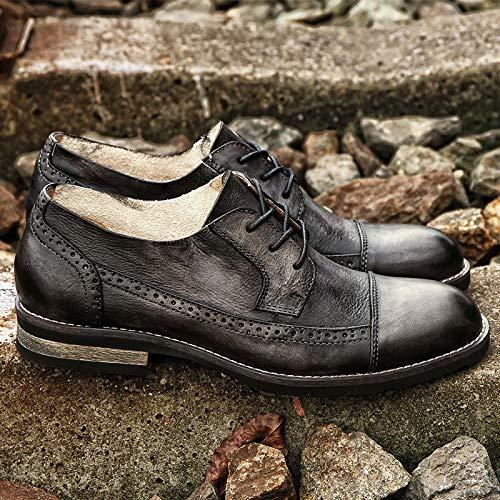 Moda Planos 44 eu A Para Zapatos Hombres Cuero Blue Oxford color Carve De Diseño Marca Size Buey Mano Yao Bullock Hechos Black Encargo Patrones qwYt4Y