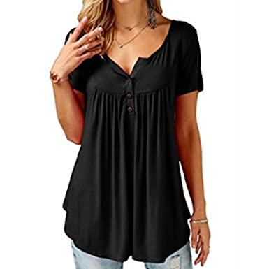 187884ce059 Lafunda Women s Summer Short Sleeve T-Shirt Plus Size Loose Tops Ladies  Casual Tunic Blouse Solid Color Pleated V-Neck Button up Tunics M-5XL