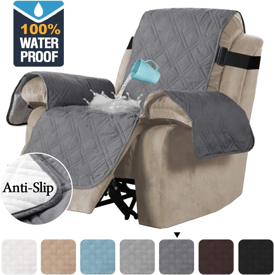 H.VERSAILTEX 100% Waterproof Quilted Recliner Chair Cover Recliner Cover Recliner Slipcover for Living Room, Secure with Elastic Strap and Non Slip Puppy Paw Silicone Backing (Standard, Grey): Home & Kitchen