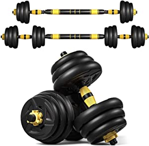 VLVEE 22/33/44 Lbs Weight Dumbbells Set, Adjustable Weight Home Fitness Weight Set Gym Barbell Set for Men and Women Workout Exercise Training with Connecting Rod