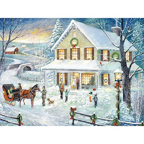 Bits and Pieces - 300 Piece Jigsaw Puzzle for Adults - Christmas Visit - 300 pc Winter Holiday Snow Jigsaw by Artist Ruane Manning