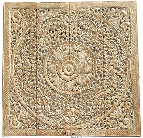 Large Tropical Wood Carved Wall Panels. Floral Wood Wall Hanging. Decorative Asian Wall Decor. (48