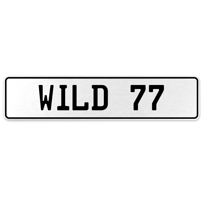 Vintage Parts 555862 Wild 77 White Stamped Aluminum European License Plate