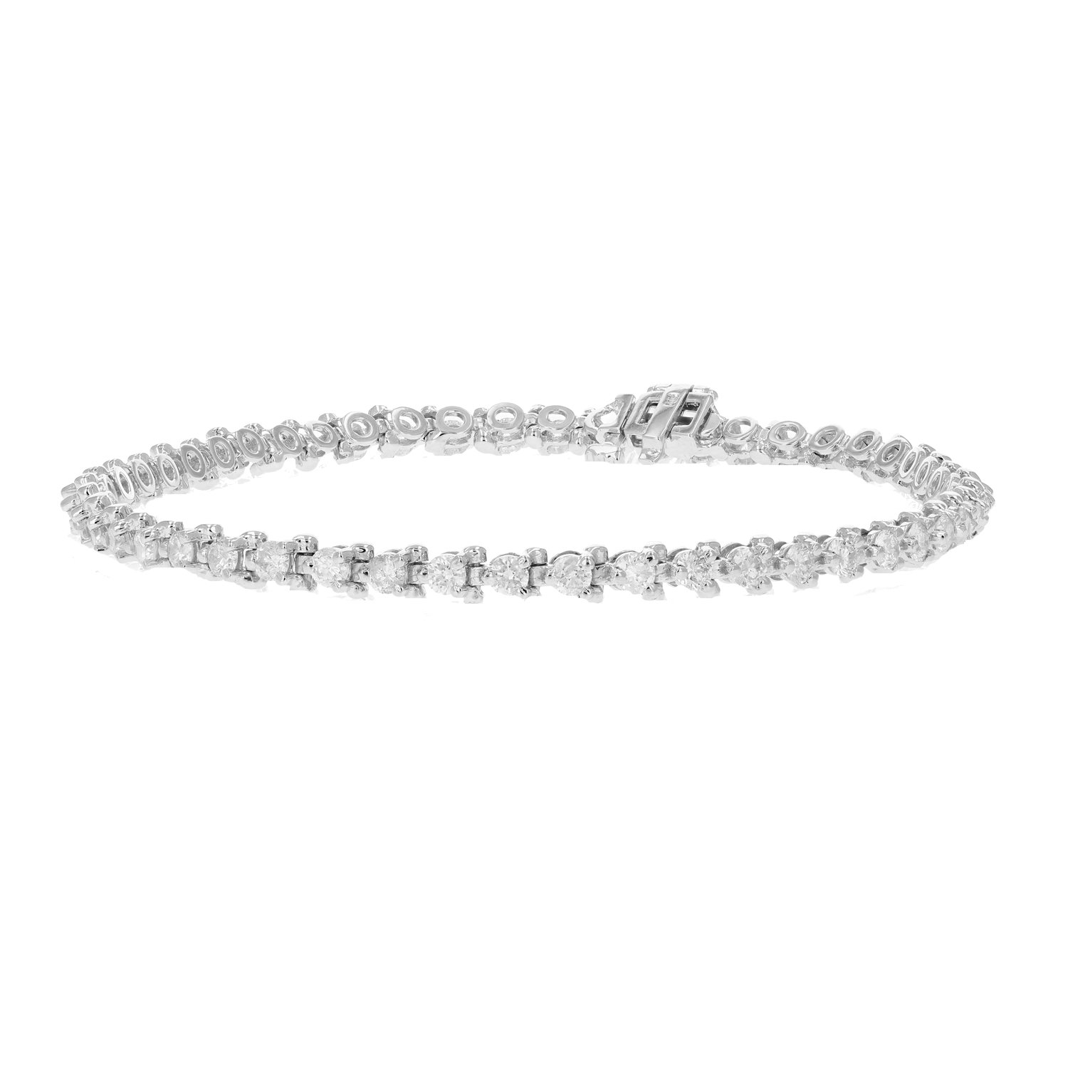 3 CT AGS Certified I1-I2 Diamond Bracelet 3-Prong Style 14K White Gold (H-I) by Vir Jewels