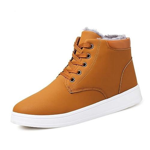 Botas de Invierno Hombre Botas de Nieve Cuero Calientes Botines Corto Impermeable Zapatos de Invierno Cordones