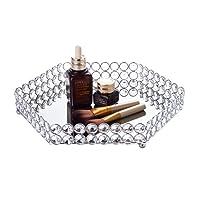 Feyarl cristallo esagonale vassoio gioielli organizzatore cosmetici vassoio specchio decorativo vassoio (argento)