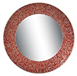 Cheap DecorShore 24″ Traditional Mosaic Mirror, wall mirror, decorative wall mirror (Red & Silver)