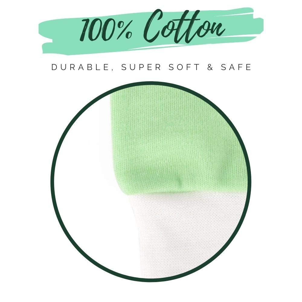 BabyBliss 100/% Cotton Anti-Scratch Baby Mittens Available in 3 Sizes Unisex Infant Mitts 7-Pair Set of Cute /& Soft Gloves for Boys /& Girls S with Laundry Bag /& Baby Weaning E-Books