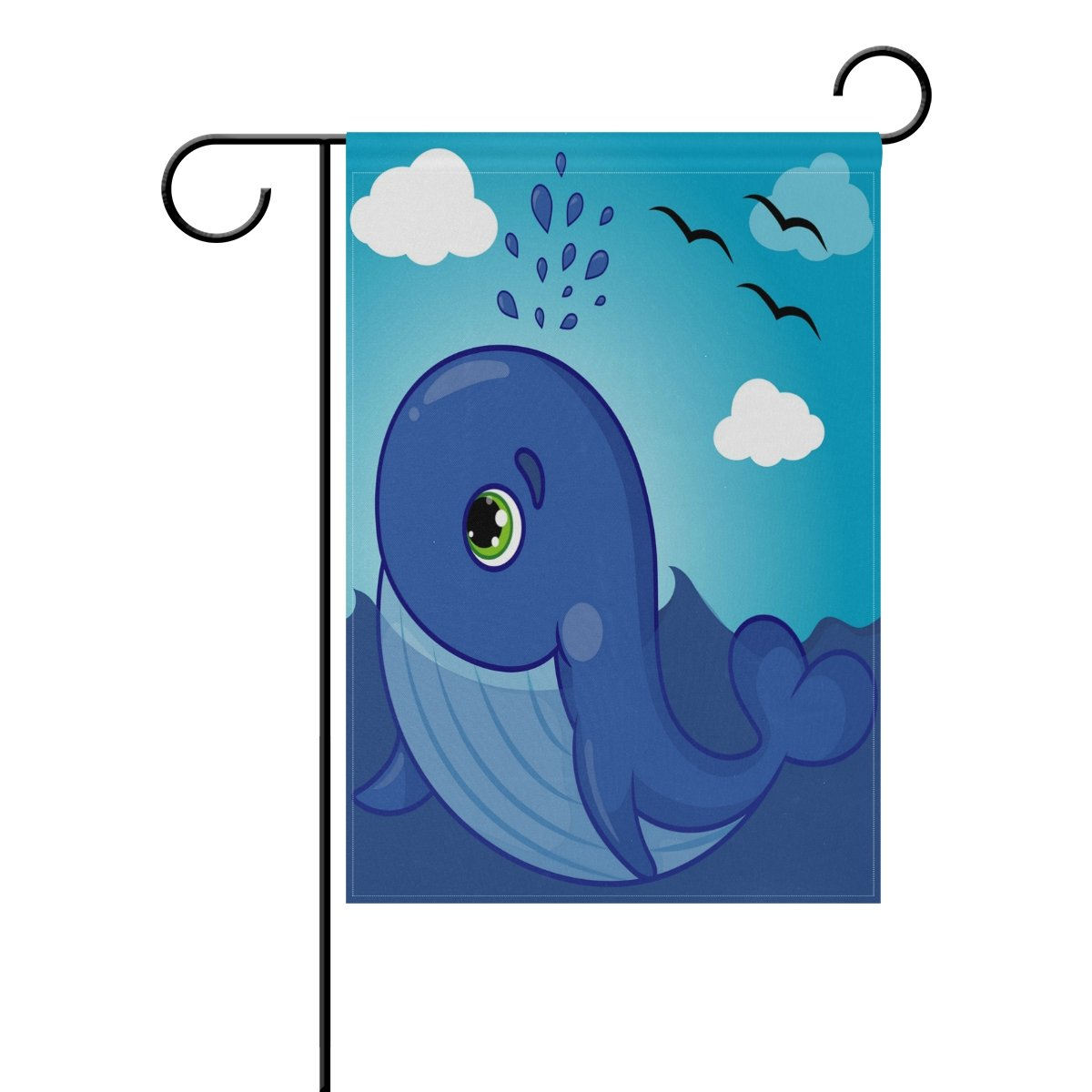 ALAZA Ocean Whale Smiling with Water Fountain Garden Flag Polyester for Home Garden Decor 28 x 40 Inch Waterproof