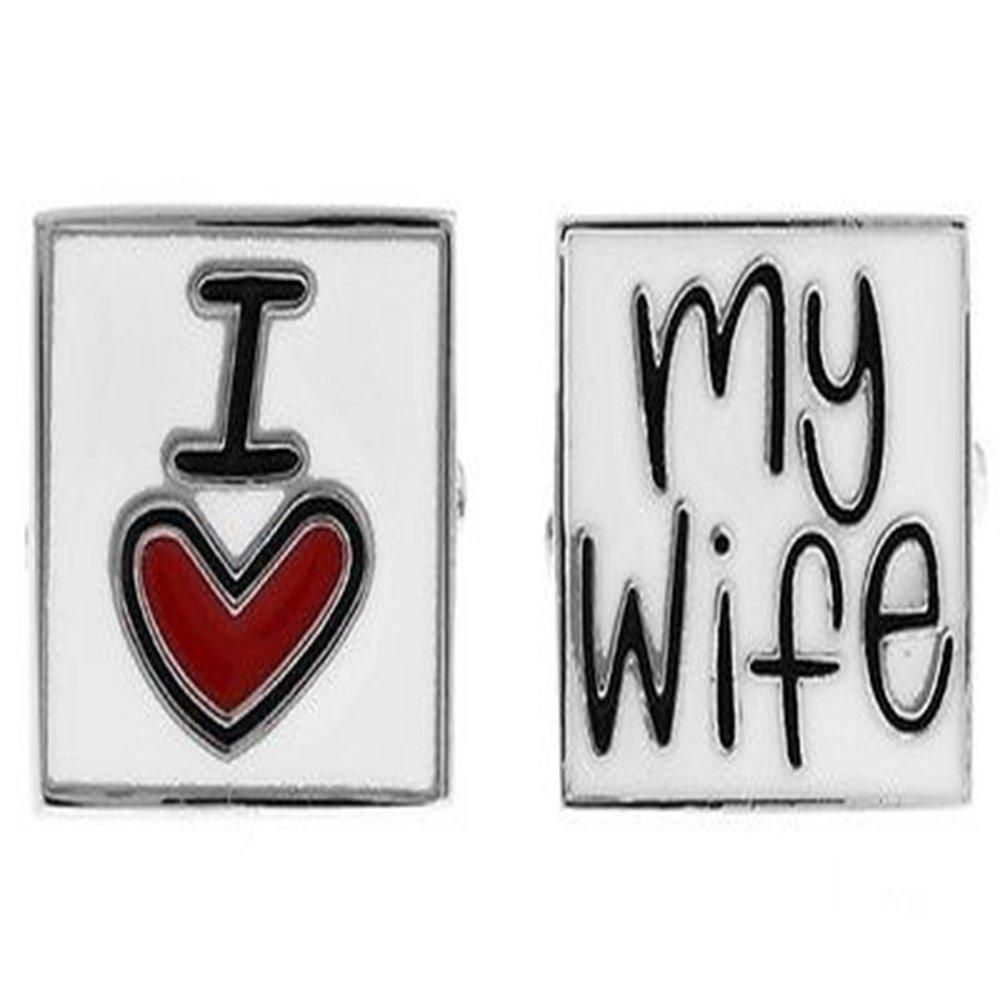 I Love My Wife Husband Anniversary Wedding Gift Cufflinks + Free Box & Cleaner