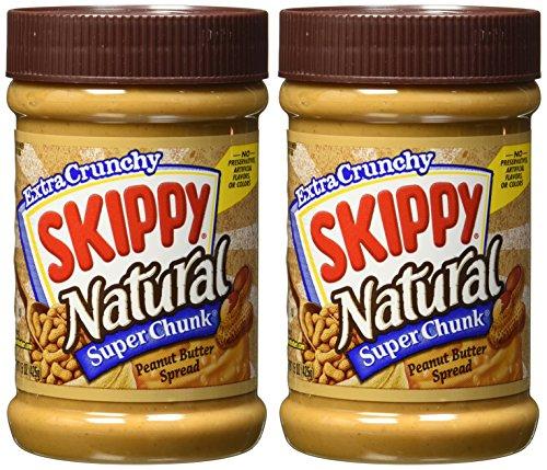 Skippy Super Chunk Natural Peanut Butter Spread, 15 oz. (2-Pack) (Natural Peanut Butter Skippy)