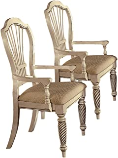 wilshire antique white dining chairs w arms set of 2