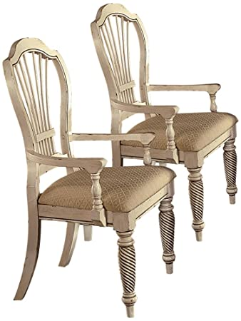Hillsdale Wilshire Fabric Arm Dining Chair in Antique White Set of 2