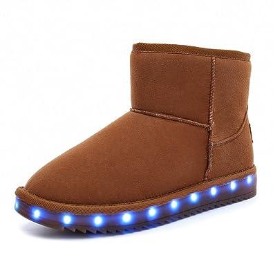 31a6950ebc25d9 O N LED Schuh Bunte Winterstiefel Schneestiefel USB Aufladen 7 Farbe  Leuchtend Schneeschuhe Winter Schuhe mit Warm