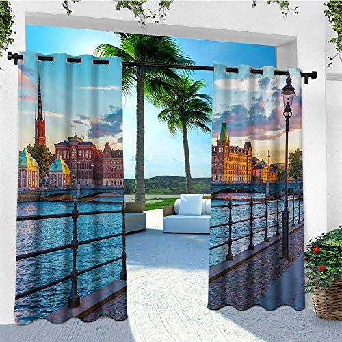 - leinuoyi Cityscape, Outdoor Curtain Wall, Scandinavian Stockholm Old Town Sweden by Lake Gamla Stan View Autumn Day Scenery, Outdoor Privacy Porch Curtains W84 x L96 Inch Multicolor