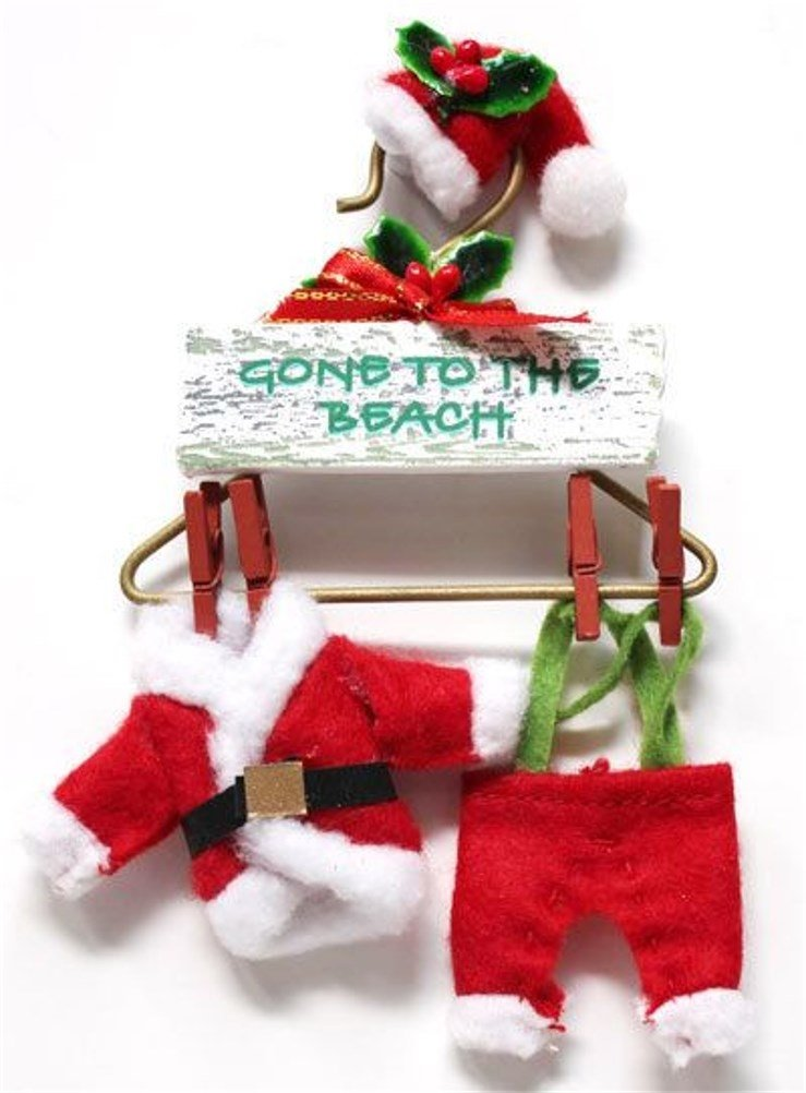 amazoncom santa suit on a hanger gone to the beach sign tropical christmas ornament home kitchen