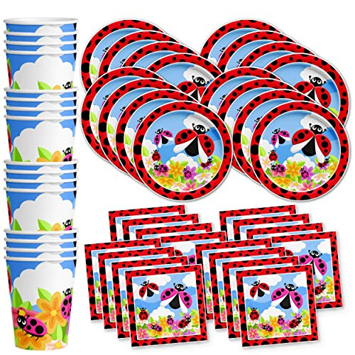 Little Lady Bug Birthday Party Supplies Set Plates Napkins Cups Tableware Kit for 16 -