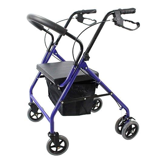 HGBKJUO Andador para Ancianos, Rollator 4 Ruedas Plegable con ...