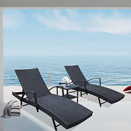 Surprising Leaptime Patio Lounge Chair Set Outdoor Rattan Adjustable Backrest Black Pe Wicker Sunbed Furniture W Armrest 2Pcs Loungers 1Pc Side Table Dailytribune Chair Design For Home Dailytribuneorg