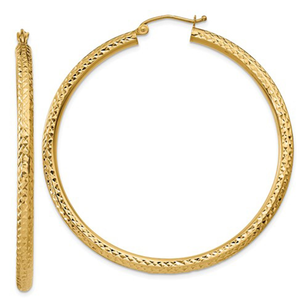 14K Yellow Gold Thick Diamond Cut Hoop Earrings, 50mm (3mm Tube)