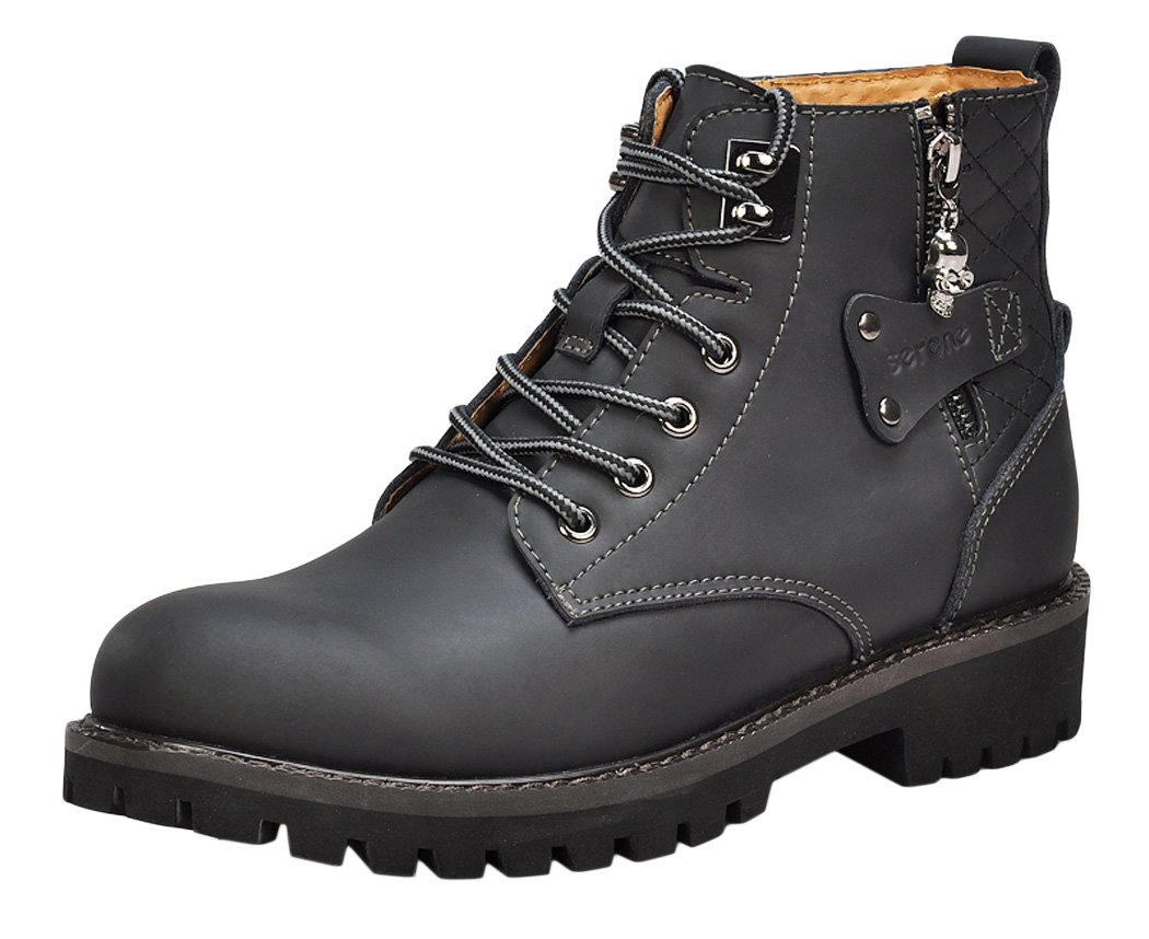 Serene Mens Fashion Casual Leather Uppers Zipper Decorated Lace Up Mid Top Flats Martin Boots Sneakers Shoes
