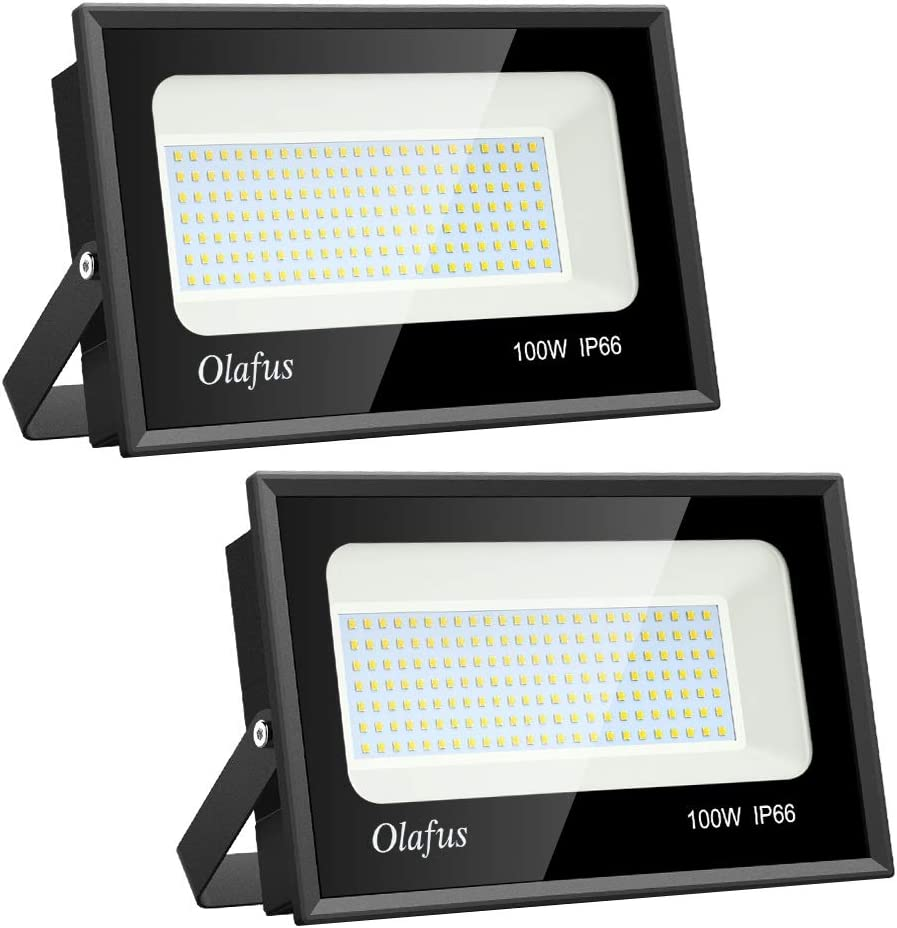 Olafus 2 Pack 100W LED Flood Light Outdoor, 11000lm Super Bright Floodlights, IP66 Waterproof Exterior Security Lights, 5000K Daylight White Lighting for Lawn, Playground, Yard, Volleyball Playcourt