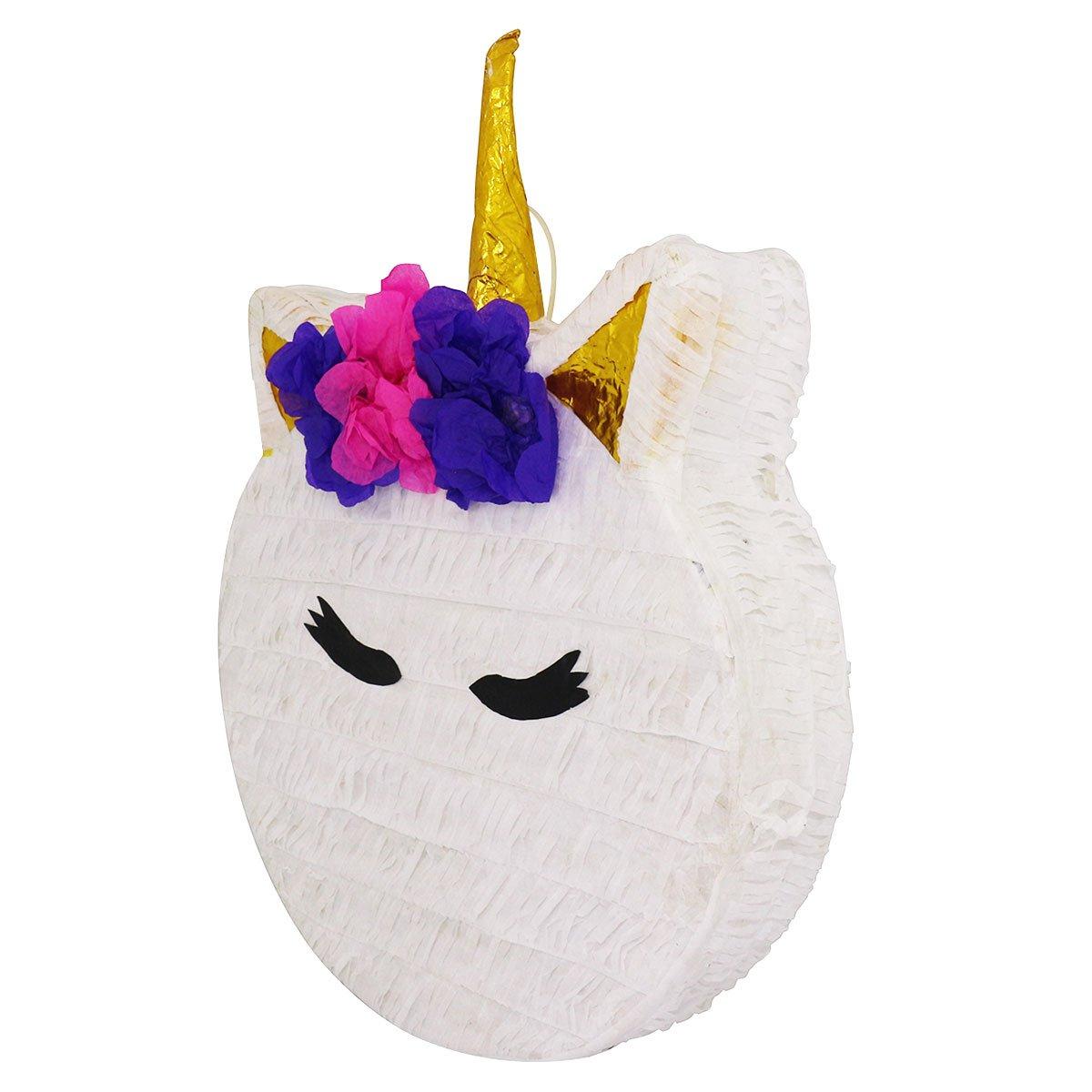 Handmade in Mexico Mexican Pi/ñata Unicorn Head Face Circle Pinata