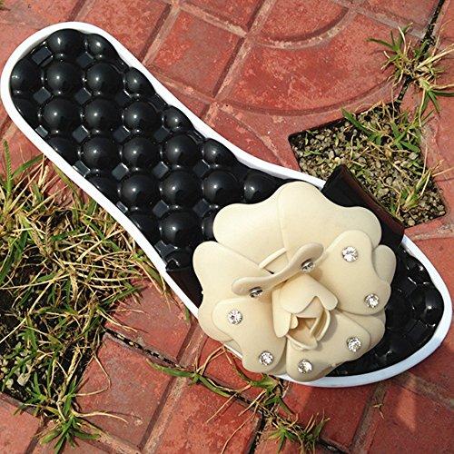 Damen Innen/Outdoor Sommer Hausschuhe Sandale Hausschuhe mit Kamelie Dekorieren und Massage Sohle,Beige 39