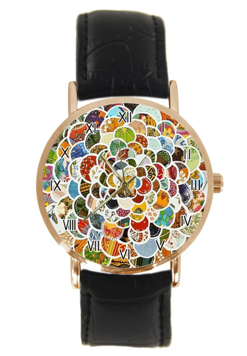 jkfgweeryhrt New Simple Fashion Colorful Scale Style Steel Leather Analog Quartz Sport Wrist Watch