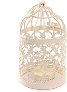 Qingsun Metal Tealight Candle Holder Lanterns Creative Wedding Home Table Decoration Birdcage White 8x14cm