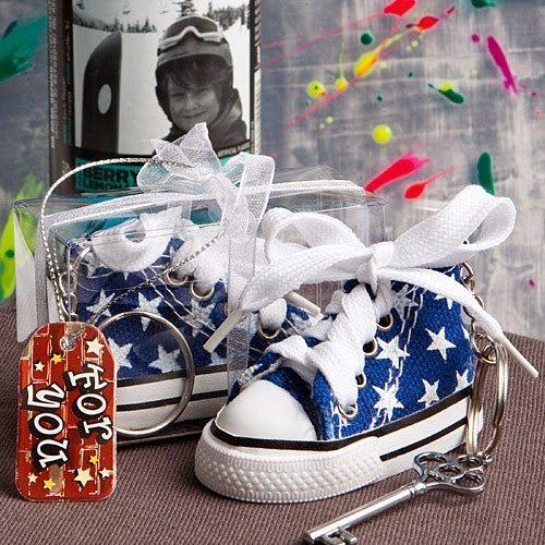 50 Oh-So-Cute Blue Star Print Baby Sneaker Key Chain by F...