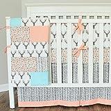 Floral Coral Deer Crib bumper bedding Set-Bumpers, Crib Skirt, Sheet,Quilt