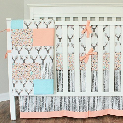 Floral Coral Deer Crib bumper bedding Set-Bumpers, Crib Skirt, Sheet,Quilt by Baby Milan