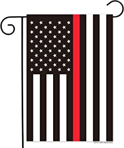 American Firefighter Thin Red Line Garden Flag- Double Sided Print Red Stripes Lives Matter fireman Yard Flags Banner Vivid Color Honoring Law Enforcement Officers Outdoor Indoor Decor 12.5x18 Inch