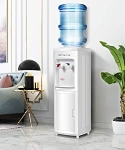 Water Cooler Dispenser, Safeplus Top Loading Cooler Dispenser, Hot & Cold Water, Child Safety Lock, Removable Drip Tray, Bottom Load Water Holds 3 or 5 Gallon Bottles-UL for Home Office