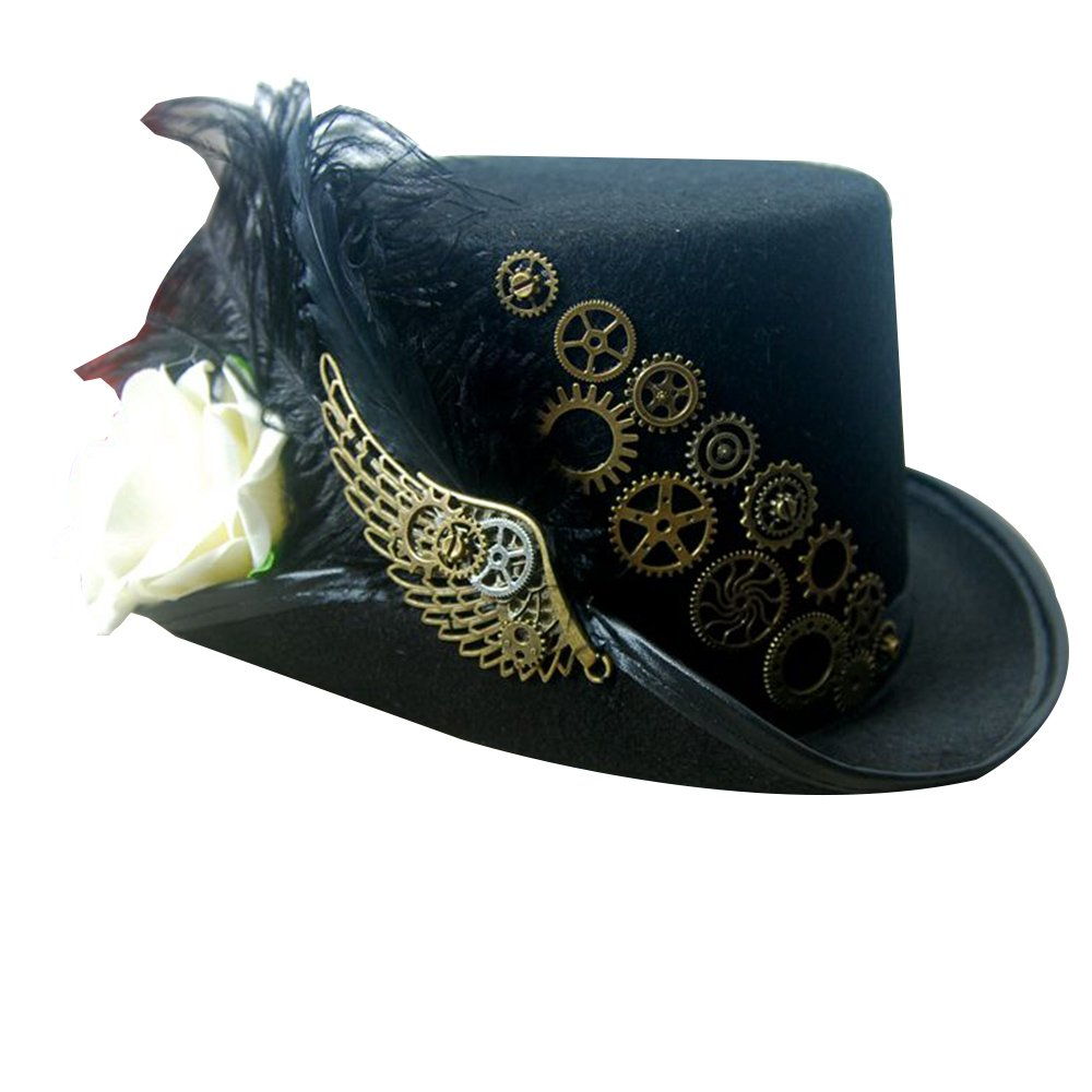 PunkStyle Steampunk Victorian Hat for Women Black with Metal Wing Cosplay Gothic Noble Top Hat ZN05