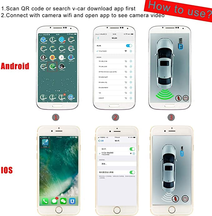 Lwtop Wireless License Plate Camera Car Hidden Backup Reversing Rear View Camera Für Android Iphone Ipad Sport Freizeit