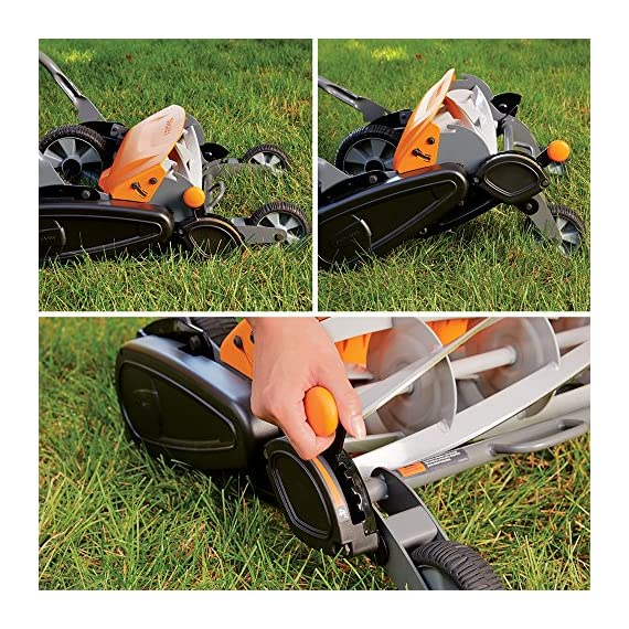 Fiskars staysharp max reel mower 4 the smart design of reel mower offers a cleaner cut without the hassles of gasoline, oil, battery charging, electrical cords or loud engine noise a combination of advanced technologies make the staysharp plus reel mower 40-percent easier to push than other reel mowers patent-pending inertia drive reel delivers 75-percent more cutting power to blast through twigs, weeds and tough spots that would jam other reel mowers