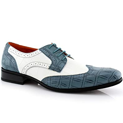 6eade70c2bb Ferro Aldo Carl M109185 Mens Full Synthetic Alligator Print Formal Oxford  Casual Lace Up Dress Shoes