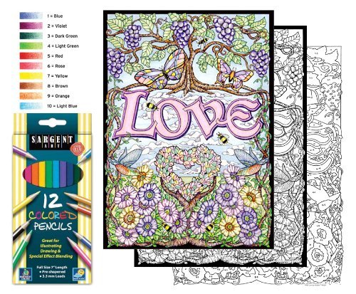 Love - Color By Number Poster Set - Includes 12 Coloring Pencils Stuff2Color