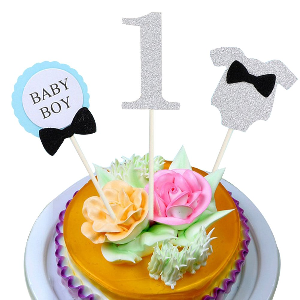 Baby Boy First Birthday Cake TopperYOFUNTLE Handmade Decoration Set For Party Supplies Silver Amazon Grocery Gourmet Food