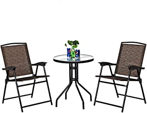 3PCS Bistro Set Patio Conversation Set w/2 Folding Chairs Indoor & Outdoor Dining Furniture Set w/Round Table for Backyard, Garden, Poolside,