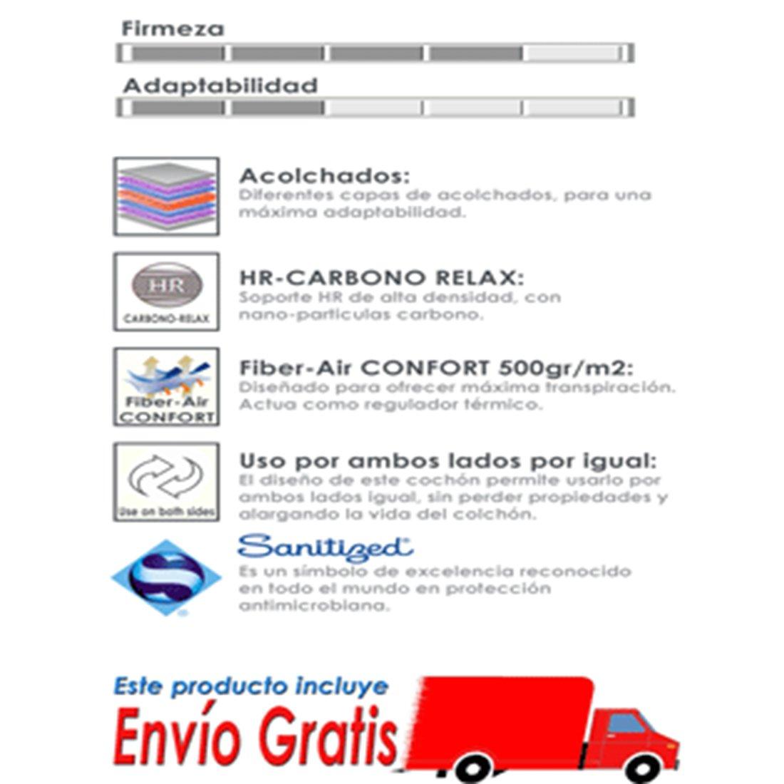 Colchón Viscoelástico CARBONO RELAX 20 cm - Todas las medidas - 135x190: Amazon.es: Hogar