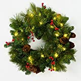 18 inches Wreath, 20 pcs Warm White LEDs, Green Copper Wire, Green Battery Box + Timer