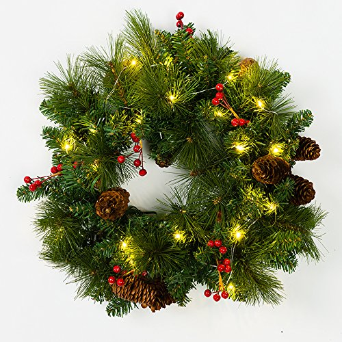 (Mr. Light 18 inch Pre-Lit, Decorated Wreath with 20 Warm White LED's, and Bunches of Red Berries and Pine Cones. Indoor/Outdoor Battery Box + Built-in 6hr/ 24 hr Electronic Timer.)